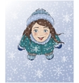 Cute winter girl catching snowflakes with tongue vector image