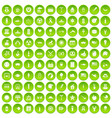 100 summer holidays icons set green circle vector image vector image