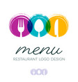 abstract restaurant menu logo design vector image