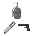 army and armament monochrome icons in set vector image vector image
