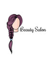 beauty salon logotype with doodle of vector image vector image