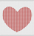 big red heart made of kissmarks isolated on vector image vector image