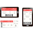 boarding pass ticket on smartphone screen vector image vector image