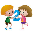boy and girl holding number two vector image