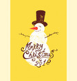 calligraphic grunge christmas card with snowman vector image vector image