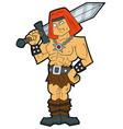 cartoon fantasy barbarian with a sword vector image