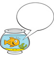 Cartoon fishbowl with a caption balloon