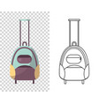 childish cute bag for trips wheeled child handle vector image
