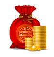 Chinese money bag vector image vector image