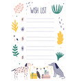 creative colorful wish list template with dogs vector image