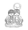 cute little boys with sun kawaii in the landscape vector image vector image