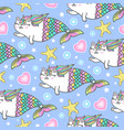 cute unicorn cat mermaids vector image
