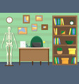 doctors office with a bookcase and a skeleton vector image