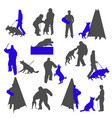 dog sport and training silhouettes isolated on vector image