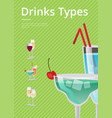 drinks type advert poster with blue cocktail glass vector image vector image