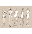 Fashion models in sketch style vector image vector image