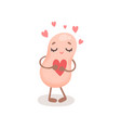 funny soy bean character holding red heart cute vector image