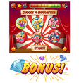 Game template with clowns as characters vector image vector image