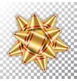 gold bow ribbon 3d decor element package shiny vector image vector image