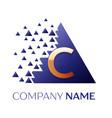golden letter c logo symbol in blue pixel triangle vector image
