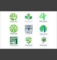 green tree logo original design set of vector image vector image
