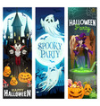 halloween ghost pumpkins bats witch and vampire vector image vector image