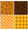 halloween seamless patterns set four vector image