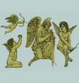 hand drawn angels in vintage style colored vector image