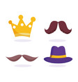 happy fathers day gold crown moustache hat icons vector image