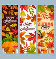 hello autumn banners with falling leaves vector image vector image