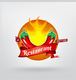 hot chilli pepper restaurant concept logo design vector image