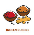 indian cuisine curry and ginger vector image