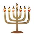 jewish menorah icon realistic style vector image