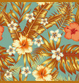 jungle flowers and leaves vintage background vector image vector image