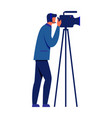man and video camera on tripod on white background vector image vector image