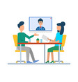 man and woman on video seminar conference boss vector image