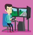 man playing video game with gaming wheel vector image vector image