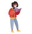 masked african american woman standing and reading vector image vector image