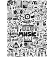Music doodles set vector image