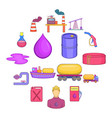 oil industrial icons set cartoon style vector image vector image