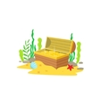 Open Chest With Golden Treasure Inside Laying At vector image vector image