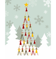 People Christmas tree vector image vector image
