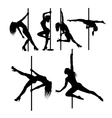 Pole dancer sexy female silhouettes vector image vector image