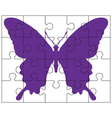 puzzle and butterfly vector image vector image