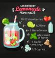 recipe of homemade strawberry lemonade vector image