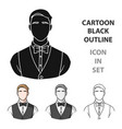 restaurant waiter with a bow tie icon in cartoon vector image