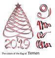 ribbon christmas tree colors of yemen vector image