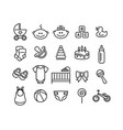 set baby icons flat style signs vector image