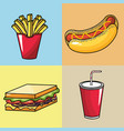 set fast food with soda in the plastic cup vector image