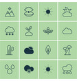 set of 16 world icons includes cloud oak sunny vector image vector image